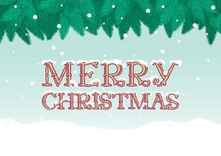 marry christmas: Marry christmas!   Vector Christmas background of inscription  Merry Christmas, fir tree and snow Illustration
