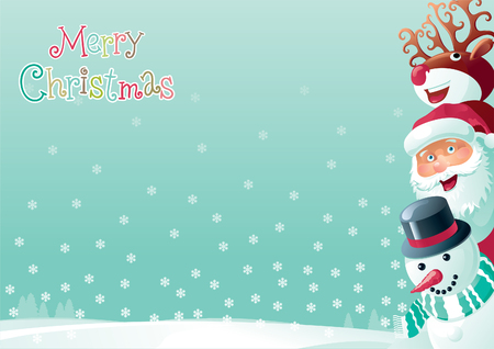snow landscape: Merry Christmas background. Vector  background  of Santa Claus, snowman and Red-Nosed Reindeer  on winter snow landscape at retro style Illustration