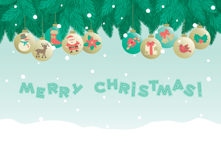 Marry christmas!   Christmas background of fir tree and baubles and inscription