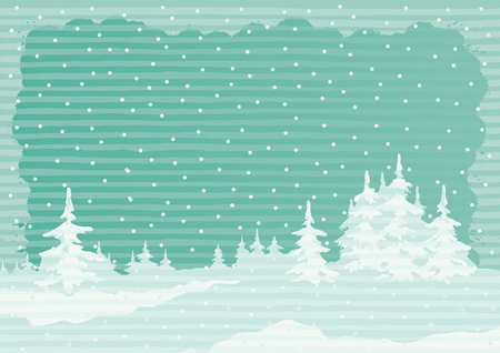 non urban: Winter landscape. Vector background of winter fir trees at color engraving style Illustration