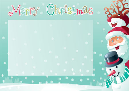 red nosed: Merry Christmas background with place for your text. Vector christmas background  of Santa Claus, snowman and Red-Nosed Reindeer  on winter snow landscape at retro style