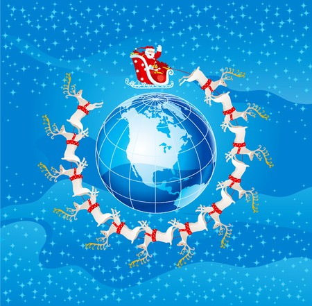 Santa claus flight. Vector illustration of santa claus flies round  Northern America  イラスト・ベクター素材