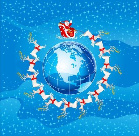 Santa claus flight. Vector illustration of santa claus flies round  Northern America Vettoriali