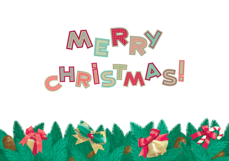 fir cone: Merry Christmas background. Vector background  of christmas fir tree with Christmas decorations, cone and text Merry Christmas