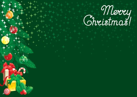 fir tree: Marry christmas!  Vector card of  christmas fir tree with baubles and gift boxes on abstract background with stars.