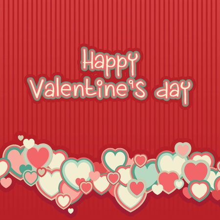 retro color: Valentines day background. Red background with many color hearts and text at retro style Illustration