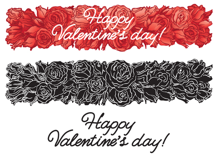 Valentines roses banners. Two  banners with roses at hand drawn style