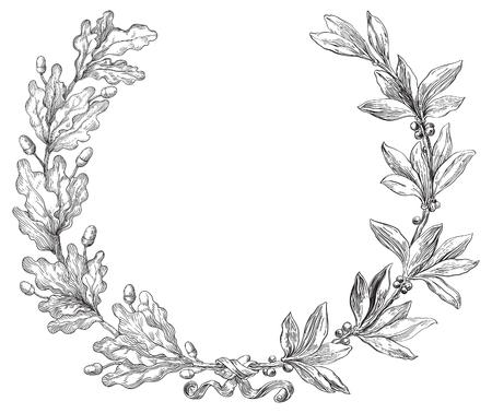 Laurel y corona de roble. Elemento decorativo del vector con las ramas de laurel y roble en estilo de grabado.