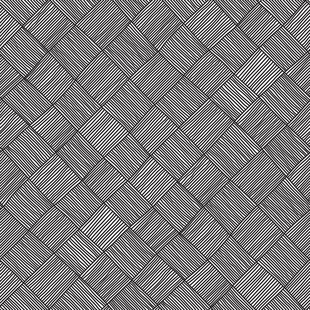 Basketry  pattern. Vector seamless  background with hatch at doodle style Illustration