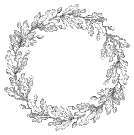 Oak wreath. Vector Decorative element with oak branches at engraving style.