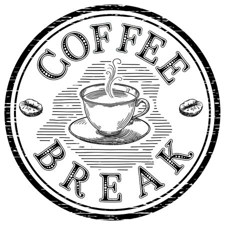 Coffee break. Vector hand drawn background of coffee cup at engraving style