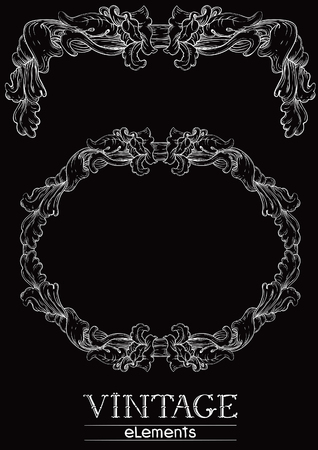 old style retro: Vintage borders. Vector retro  elements  at old engraving style.