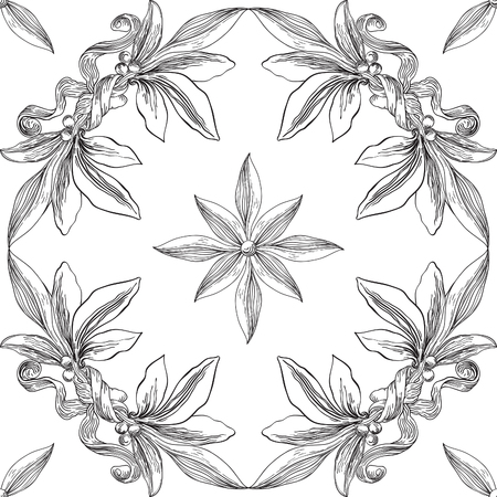 Black and white seamless  pattern. Vector ornate backgroun with laurel leaves at engraving style.