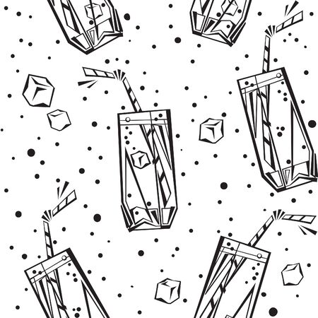 Drinks and beverages seamless background. Vector black and white. Endless cocktail pattern at doodle style