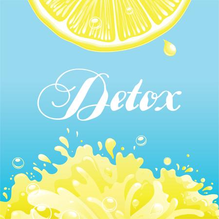 Detox vector background.  Lemon  slice   with  Citron lemon juice and text Ilustrace