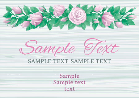 Floral border with many white roses. Invitation cards