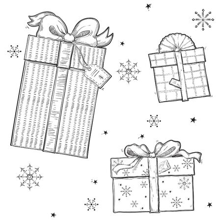 Vintage Merry christmas seamless pattern. Vector retro hand drawn style.