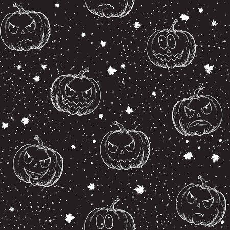 Halloween seamless pattern. Vector background with many pumpkins at doodle style Illusztráció