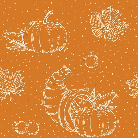 Thanksgiving seamless pattern at grunge style. Vector background with leaves, Cornucopia and pumpkins Illusztráció