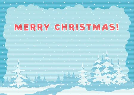 Merry Christmas greeting card. Vector background of winter fir trees at color engraving style with lettering Merry Christmas