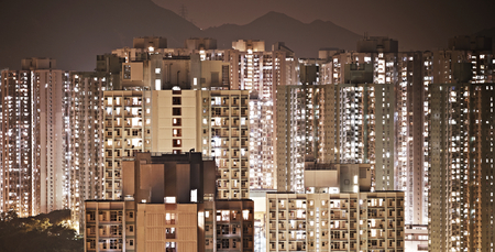 Classic Hong Kong concentrated residence at night Stock Photo - 27017983