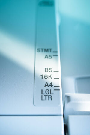 office machine: International Paper size marking and ruler on an office machine Stock Photo