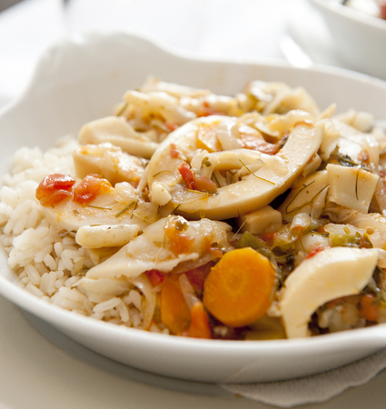 rf: Mediterranean Style Steamed Squid with Rice Stock Photo