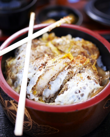 Japanese style deep fried pork chop with eggs