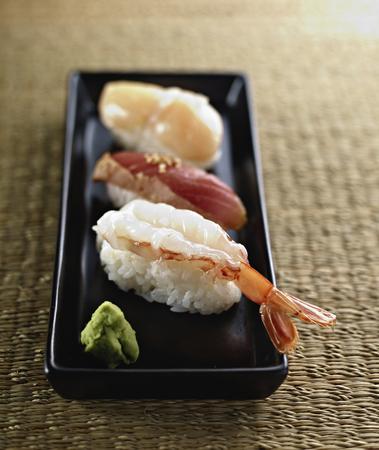 Japanese Sushi of Shrimp, Tuna and Scallop