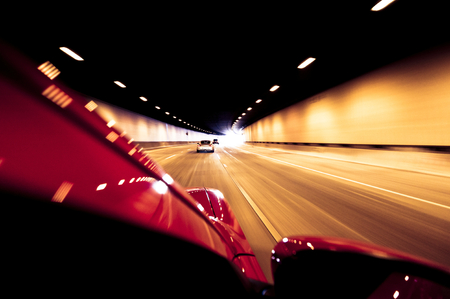 High speed road through tunnel Stock Photo
