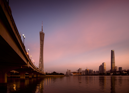 ifc: Heart of commercial in Guangzhou. Canton Tower on the left is the famous Landmark of the city, IFC building at the right side. Stock Photo