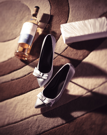 ebullient: A night with joy, ladies high heels and alcohol Stock Photo