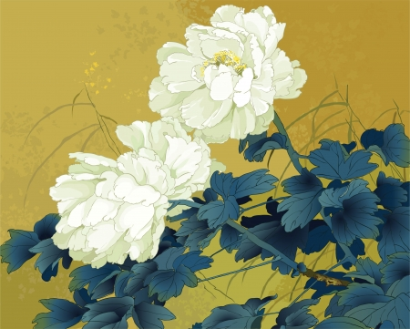 chrysanthemums: japanese graphics Illustration