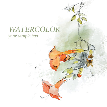 transparently: Beautiful red watercolor flowers