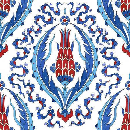 花の装飾パターン。伝統的なアラビアのシームレスな飾り。ベクトル