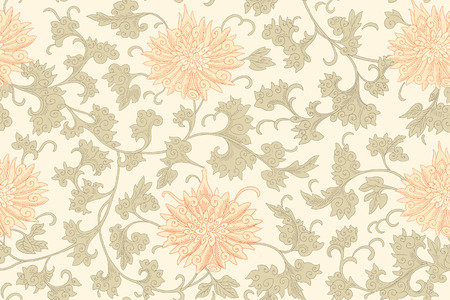 chrysanthemum: Chinese seamless pattern. Vintage