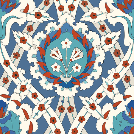 Traditional Arabic ornament seamless pattern for your design. Vector Çizim