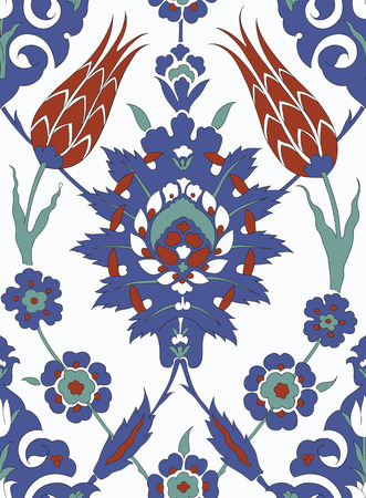 earthenware: Traditional Arabic ornament seamless. Floral Ornamental pattern. Iznik .Vector. Background