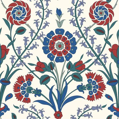 伝統的なアラビアの飾りのシームレスです。花の装飾パターン。イズニック。ベクトル。バック グラウンド  イラスト・ベクター素材