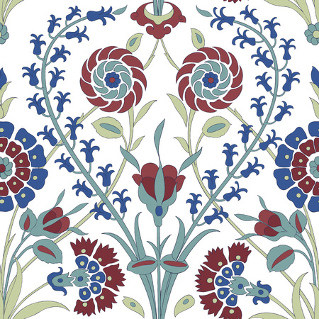 earthenware: Traditional Arabic ornament seamless. Floral Ornamental pattern. Iznik .Vector. Background