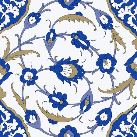 papel tapiz turquesa: Árabe tradicional ornamento sin fisuras. Modelo ornamental floral. Iznik .Vector. Fondo