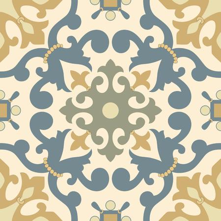 earthenware: Traditional Arabic ornament seamless. Floral Ornamental pattern. Iznik