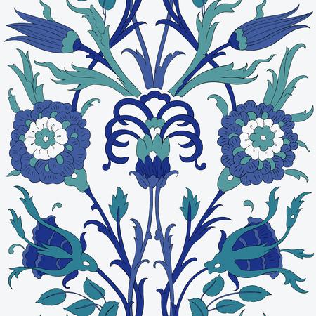 iznik: Traditional Arabic ornament seamless. Floral Ornamental pattern. Iznik . Illustration