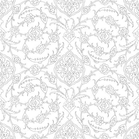 earthenware: Traditional Arabic ornament seamless. Floral Ornamental pattern. Iznik. Background. Coloring. Illustration