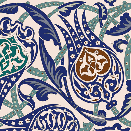 majolica: Traditional Arabic ornament seamless. Floral Ornamental pattern. Iznik .Vector. Background