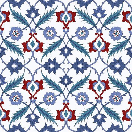 majolica: Traditional Arabic ornament seamless. Floral Ornamental pattern.