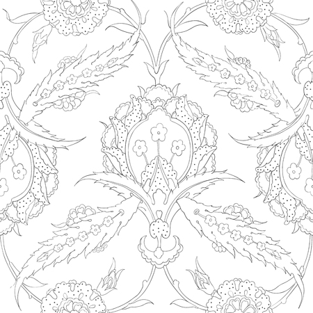 earthenware: Floral ornamental seamless pattern for ceramic tile and interior decoration, wrapping paper, graphic design, clothes and textile. Seamless pattern for coloring book. Desktop wallpaper. Iznik. Vector. Illustration