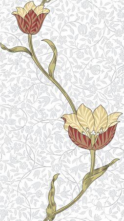 desktop wallpaper: Modern floral seamless pattern for your design. Print on paper or textile. Desktop wallpaper. Vector illustration. Background. Illustration