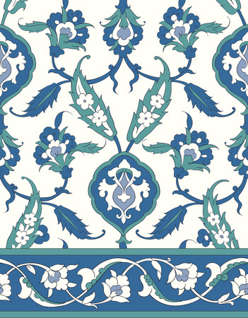 desktop wallpaper: Traditional Arabic ornament seamless for your design. Floral ornamental seamless pattern for ceramic tile, desktop wallpaper, interior decoration, wrapping paper, graphic design and textile. Iznik.