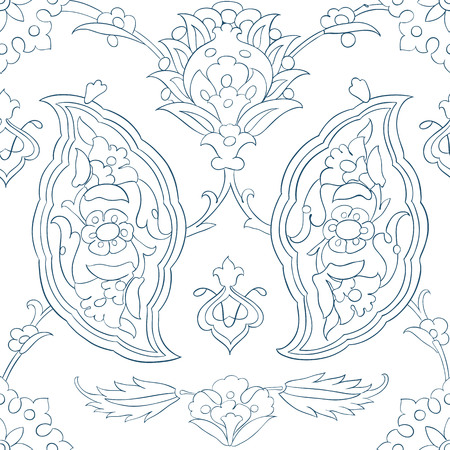 Traditional Arabic ornament seamless for your design. Floral ornamental seamless pattern for coloring book, ceramic tile, desktop wallpaper, interior decoration, wrapping paper, graphic design and textile. Iznik. Illustration